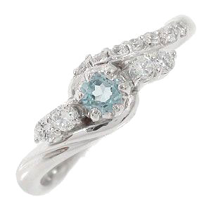 プラチナリング アクアマリン 指輪 ダイヤモンド ピンキーリング レディース ユニセックス 誕生日 2017 記念日 母の日 プレゼント【送料無料】