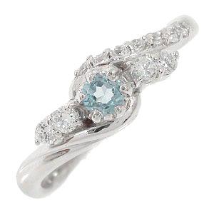 アクアマリンリング 18金 指輪 0.17ct ダイヤモンド ピンキーリング レディース ユニセックス 誕生日 2017 記念日 母の日 プレゼント【送料無料】