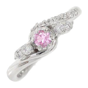 21日20時~28日1時まで ピンクサファイアリング 18金 指輪 0.17ct ダイヤモンド ピンキーリング レディース ユニセックス 誕生日 2017 記念日 母の日 プレゼント【送料無料】 買いまわり 買い回り
