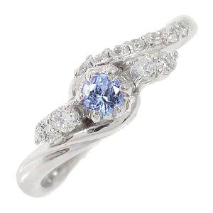 タンザナイトリング 18金 指輪 0.17ct ダイヤモンド ピンキーリング レディース ユニセックス 誕生日 2017 記念日 母の日 プレゼント【送料無料】