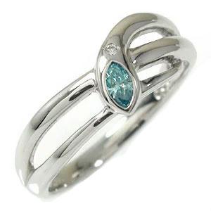 ブルーダイヤモンド ヘビ 蛇 リング プラチナ 指輪 スネーク ピンキー 送料無料