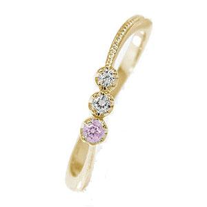 彗星 10金 ピンクサファイア ピンキーリング コメット 指輪 ダイヤモンド 誕生石【送料無料】