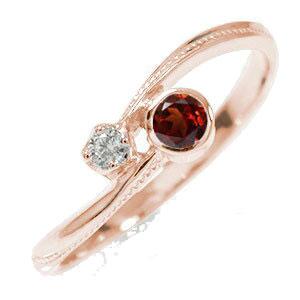 10/4 20時~ ピンキーリング 18金 ガーネット ダイヤモンド 誕生石 満月 クール 指輪 送料無料 買い回り 買いまわり