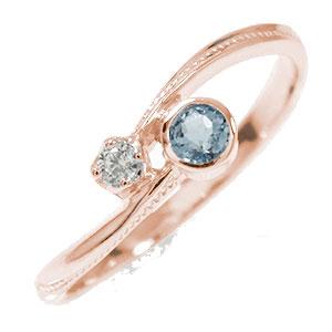 10/4 20時~ ピンキーリング 18金 アクアマリン ダイヤモンド 誕生石 満月 クール 指輪 送料無料 買い回り 買いまわり