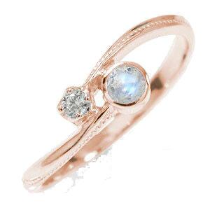 10/4 20時~ ピンキーリング 18金 ブルームーンストーン ダイヤモンド 満月 誕生石 クール 指輪 送料無料 買い回り 買いまわり