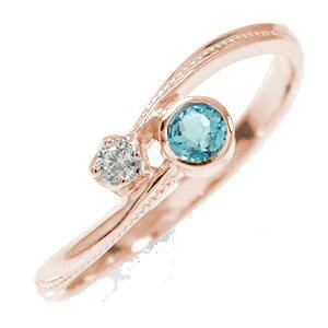 10/4 20時~ ピンキーリング 18金 ブルートパーズ ダイヤモンド 満月 クール 指輪 誕生石 送料無料 買い回り 買いまわり