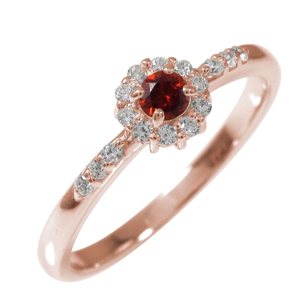 ピンキーリング 18金 ガーネット ダイヤモンド 誕生石 アンティーク 花 マニフィーク ミル 指輪 取り巻き【送料無料】