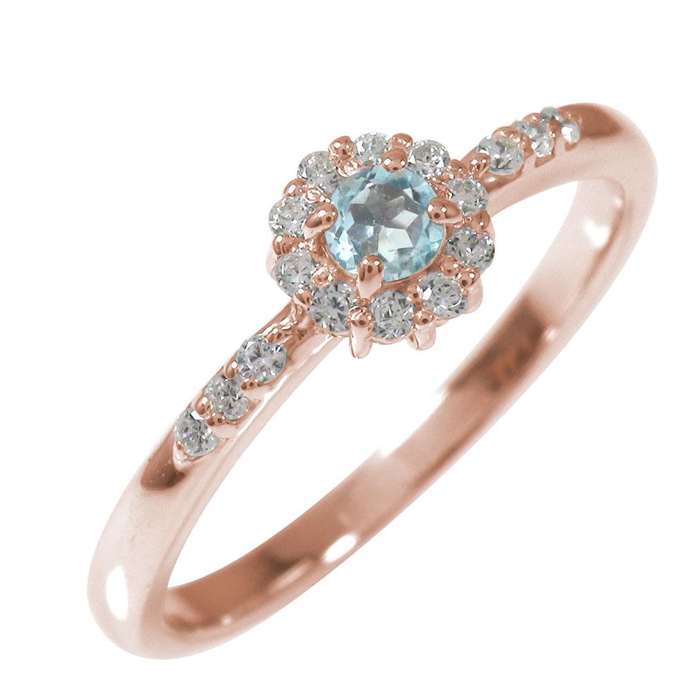 ピンキーリング 18金 アクアマリン ダイヤモンド 誕生石 アンティーク 花 マニフィーク ミル 指輪 取り巻き【送料無料】