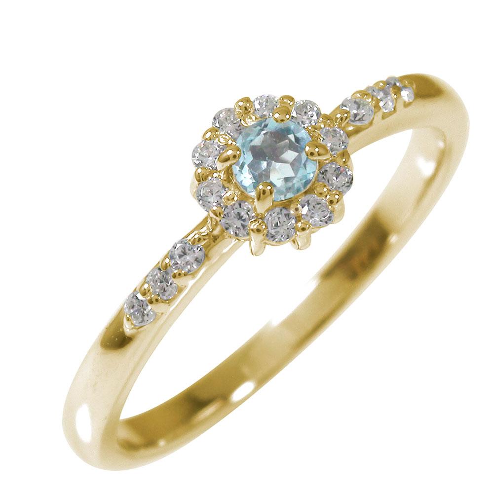 アンティーク 10金 アクアマリン ダイヤモンド 花 マニフィーク ミル 指輪 取り巻き 誕生石 ピンキーリング【送料無料】