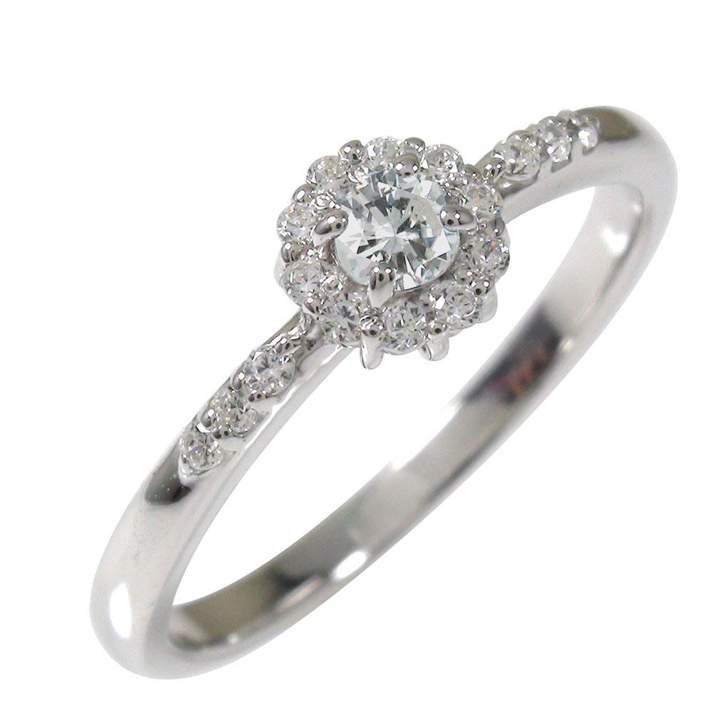 【送料無料】ダイヤモンド リング プラチナ アンティーク ピンキー 花 マニフィーク ミル 結婚指輪 婚約指輪 エンゲージリング 取り巻き 誕生石