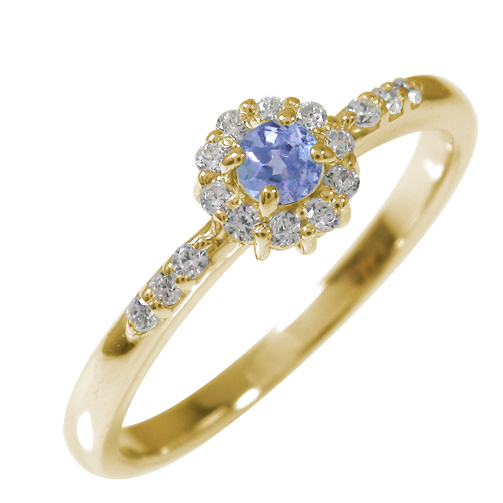 21日20時~28日1時まで アンティーク 10金 ピンキーリング 誕生石 花 マニフィーク ミル 指輪 取り巻き タンザナイト ダイヤモンド【送料無料】 買いまわり 買い回り