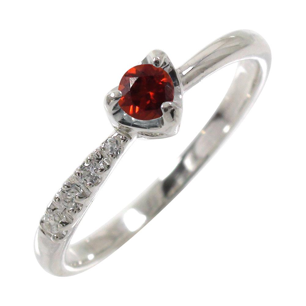 ガーネットリング k10ホワイトゴールドダイヤモンド 一粒 指輪 ハート 流れ星 ピンキー ご卒業・ご就職祝い【送料無料】