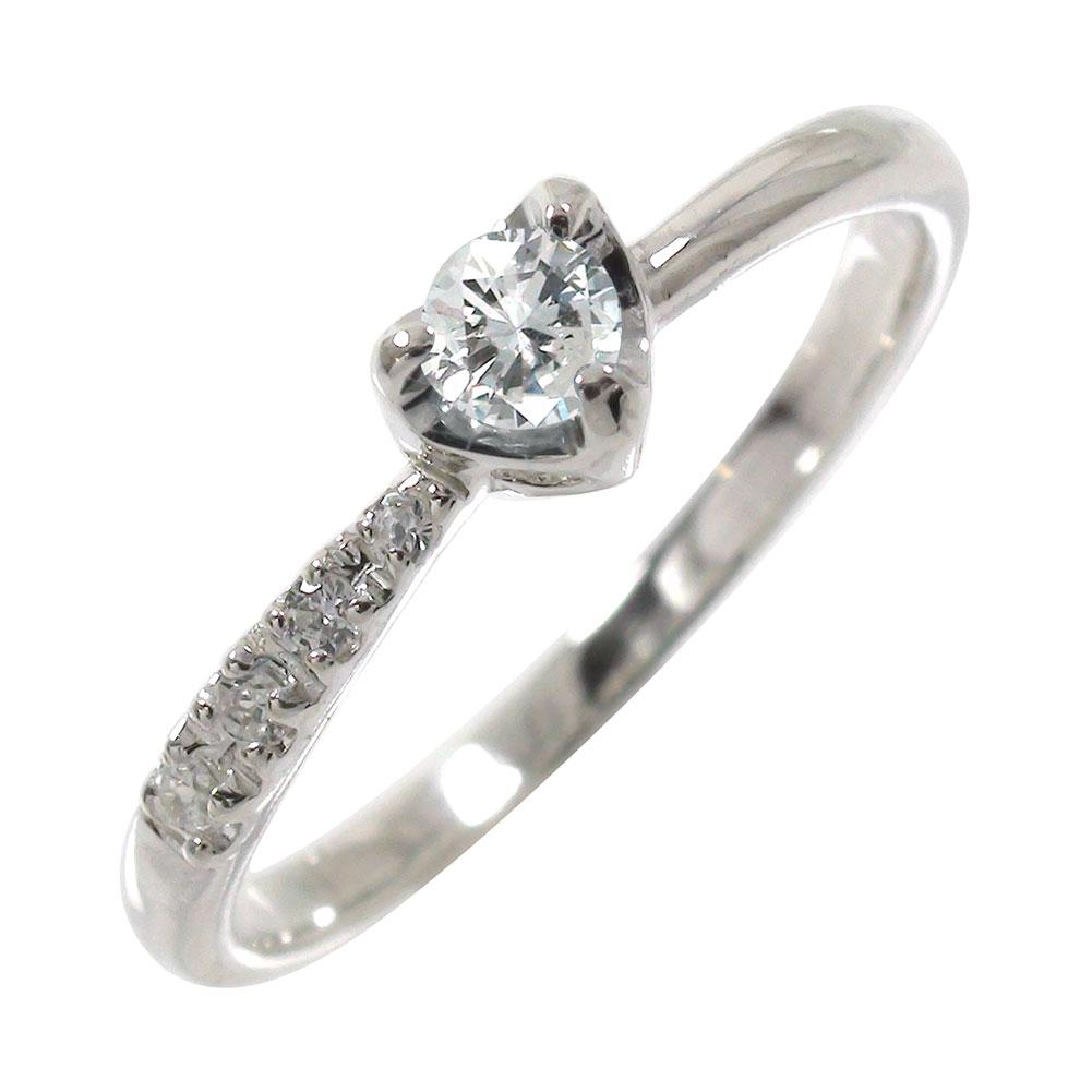 ダイヤモンド 一粒 指輪 リング ハート 流れ星 k10ホワイトゴールド ピンキーリング 0.14ct 婚約指輪 ブライダル 結婚指輪【送料無料】