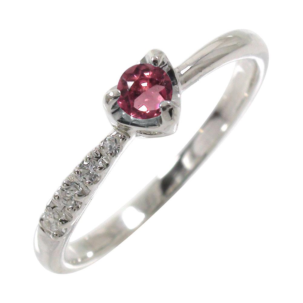 ピンクトルマリン ダイヤモンド 一粒 指輪 リング ハート 流れ星 k18ホワイトゴールド ピンキーリング【送料無料】