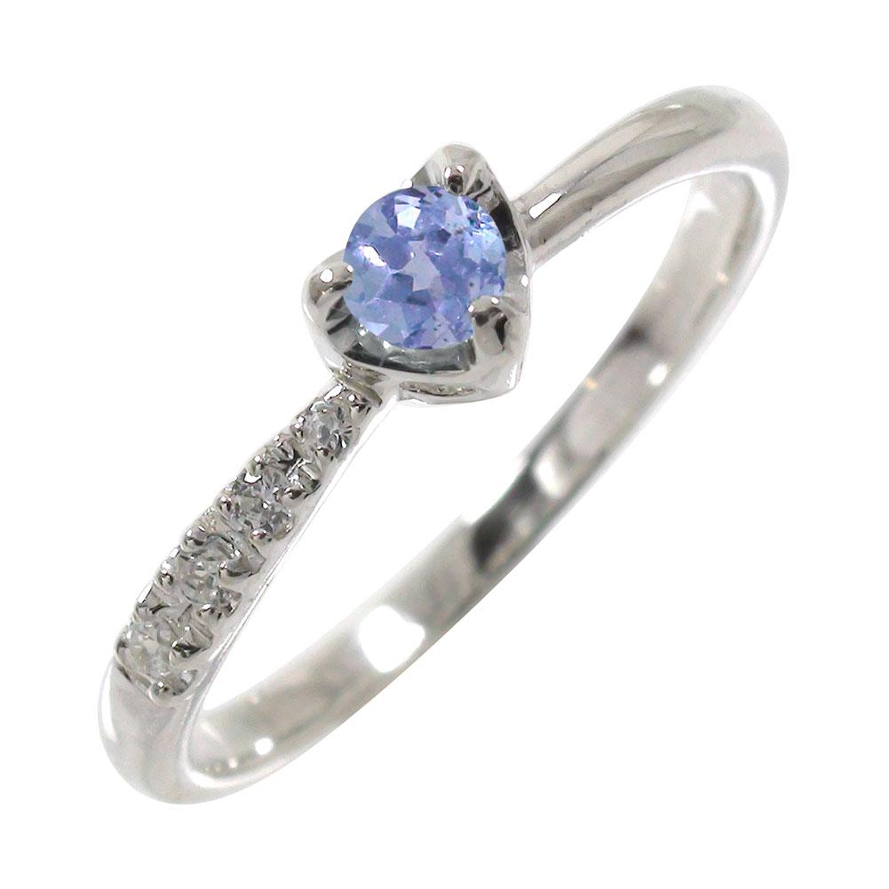 タンザナイト ダイヤモンド 一粒 指輪 リング ハート 流れ星 プラチナ900 ピンキーリング【送料無料】