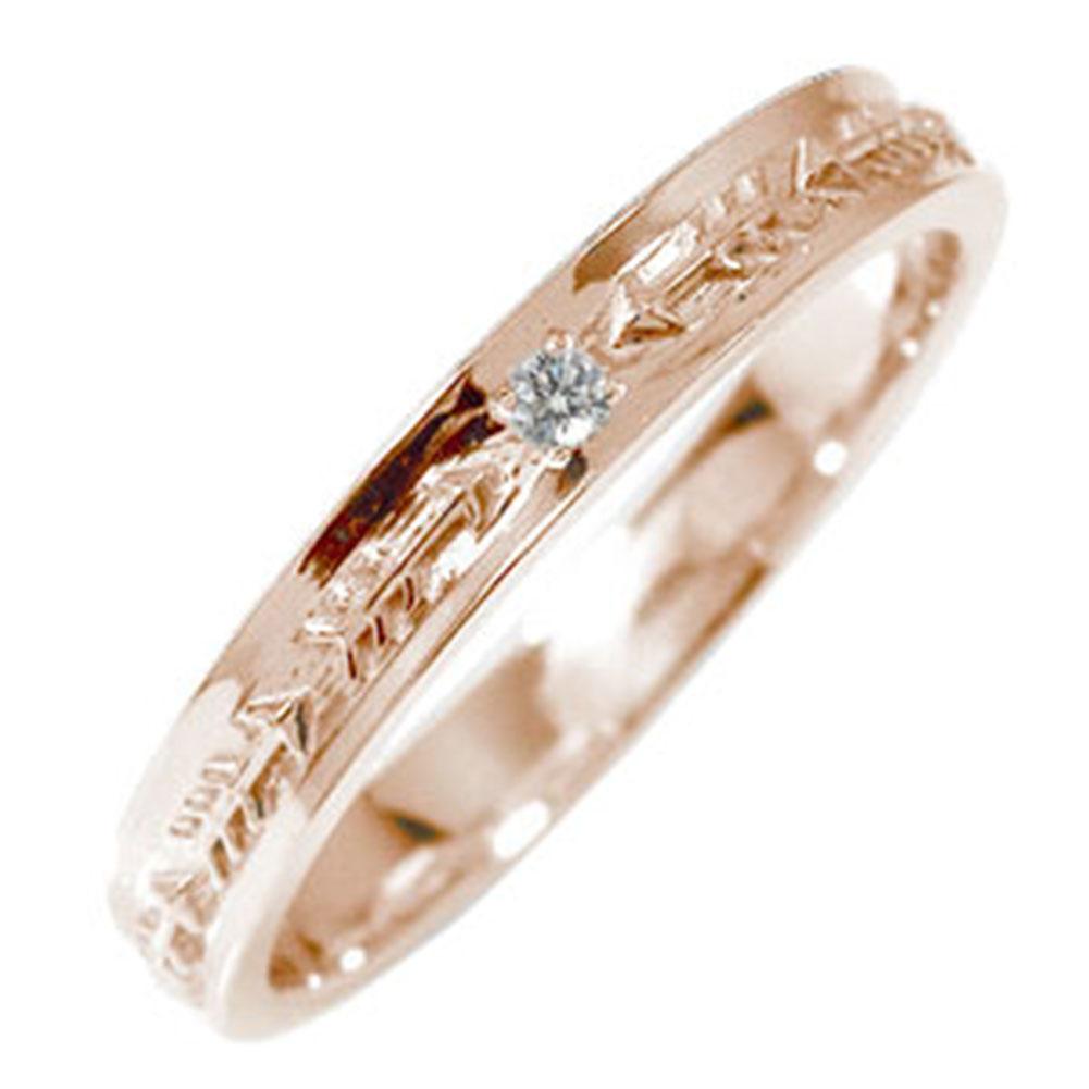 ピンキーリング 18金 ダイヤモンド インディアンジュエリー ネイティブアメリカン 矢 アロー 大人 エタニティ 結婚指輪 マリッジリング メンズ 誕生石【送料無料】