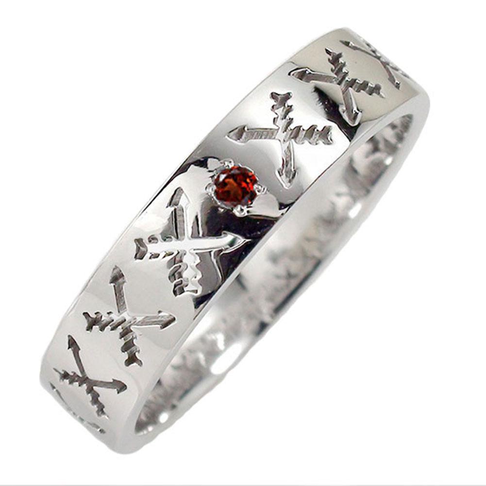 ガーネット リング プラチナ 誕生石 マリッジリング インディアンジュエリー クロッシングアロー 弓矢 結婚指輪 指輪 レディース 送料無料