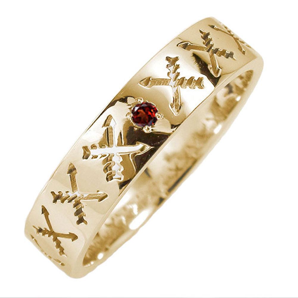 10/4 20時~ マリッジリング 10金 ガーネット 誕生石 インディアンジュエリー クロッシングアロー 弓矢 結婚指輪 指輪 レディース 送料無料 買い回り 買いまわり