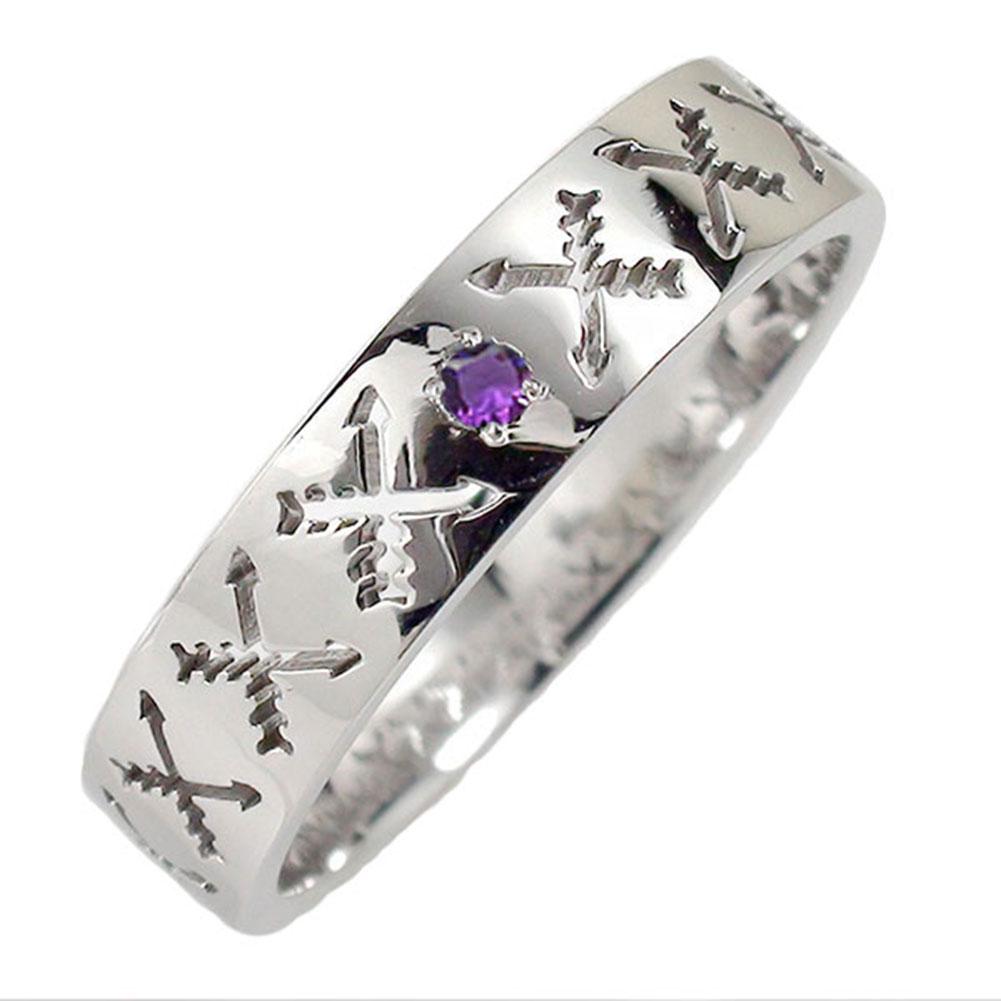アメジスト リング プラチナ マリッジリング 誕生石 インディアンジュエリー クロッシングアロー 弓矢 結婚指輪 指輪 レディース 送料無料