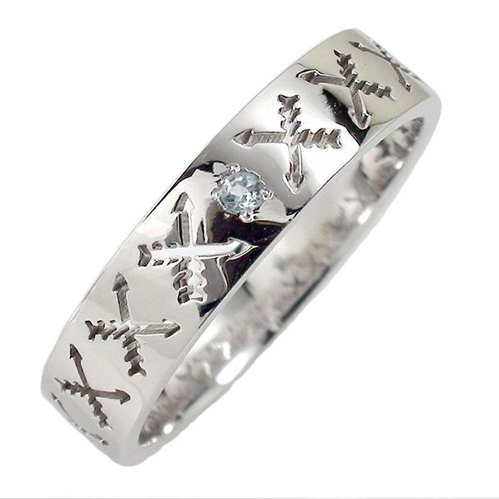 アクアマリン リング プラチナ マリッジリング 誕生石 インディアンジュエリー クロッシングアロー 弓矢 結婚指輪 指輪 レディース 送料無料
