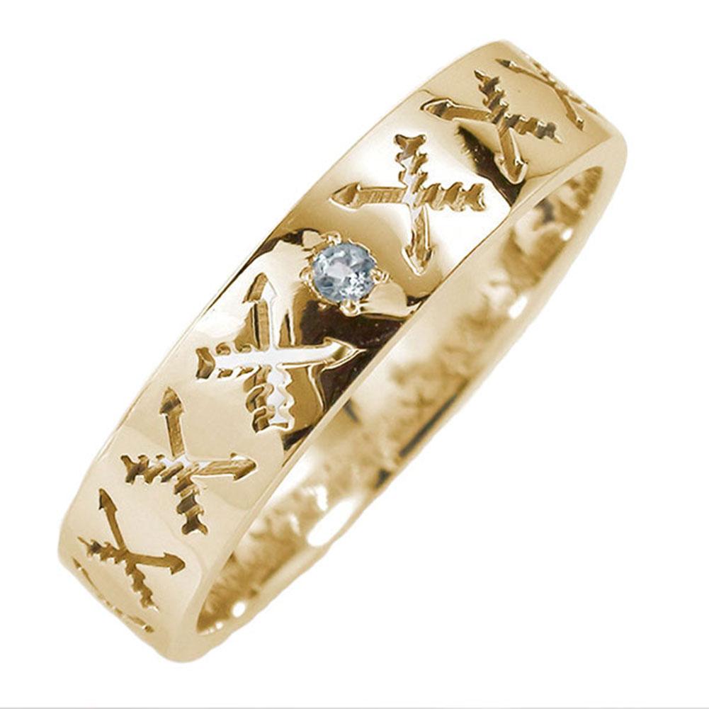 10/4 20時~ マリッジリング 10金 アクアマリン インディアンジュエリー クロッシングアロー 弓矢 結婚指輪 指輪 誕生石 ピンキーリング レディース 送料無料 買い回り 買いまわり