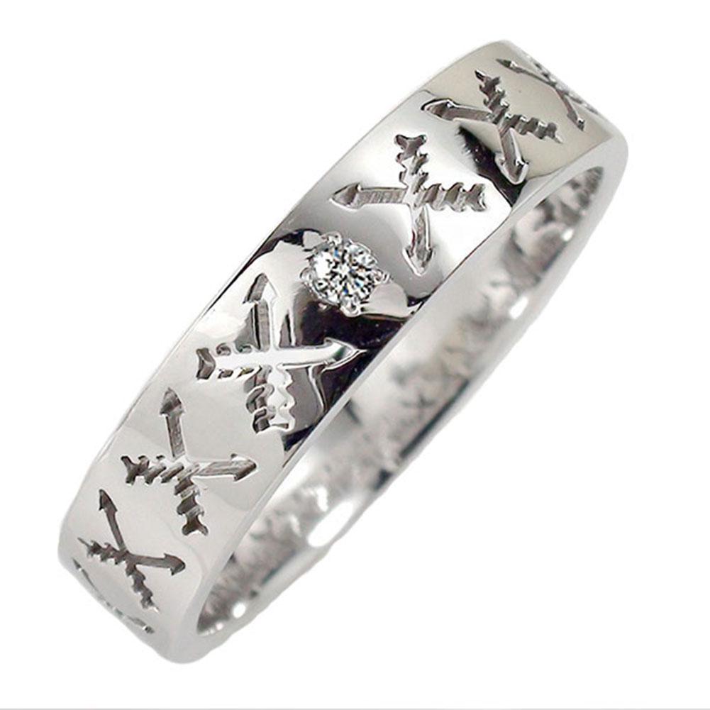 ダイヤモンド リング プラチナ マリッジリング インディアンジュエリー クロッシングアロー 弓矢 結婚指輪 指輪 誕生石 メンズ 送料無料