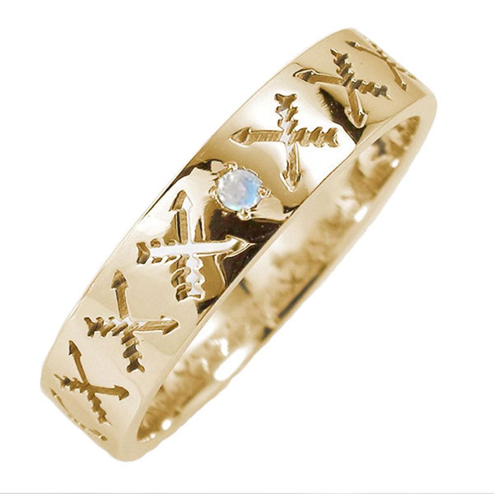 マリッジリング 誕生石 10金 ブルームーンストーン インディアンジュエリー クロッシングアロー 弓矢 結婚指輪 指輪 レディース 送料無料