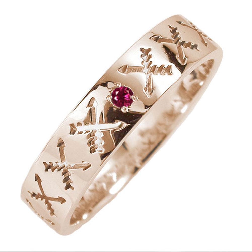 18金 ルビー 誕生石 マリッジリング インディアンジュエリー クロッシングアロー 弓矢 結婚指輪 指輪 レディース 送料無料