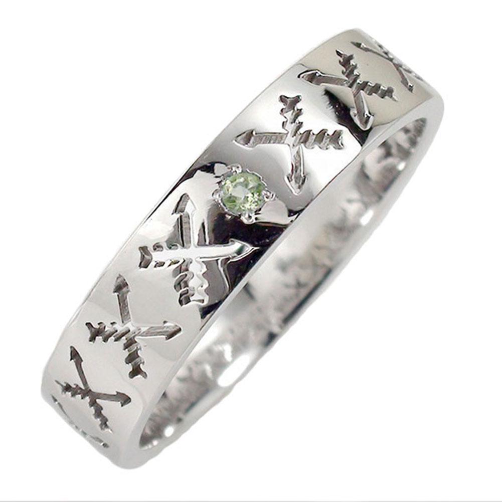 ペリドット リング プラチナ 誕生石 マリッジリング インディアンジュエリー クロッシングアロー 弓矢 結婚指輪 指輪 レディース 送料無料