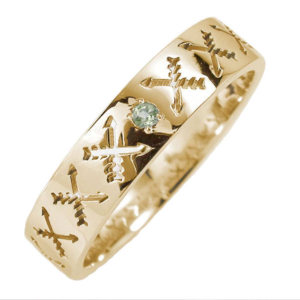 21日20時~28日1時まで マリッジリング 10金 ペリドット インディアンジュエリー クロッシングアロー 弓矢 結婚指輪 指輪 誕生石 ピンキーリング レディース 送料無料 買いまわり 買い回り