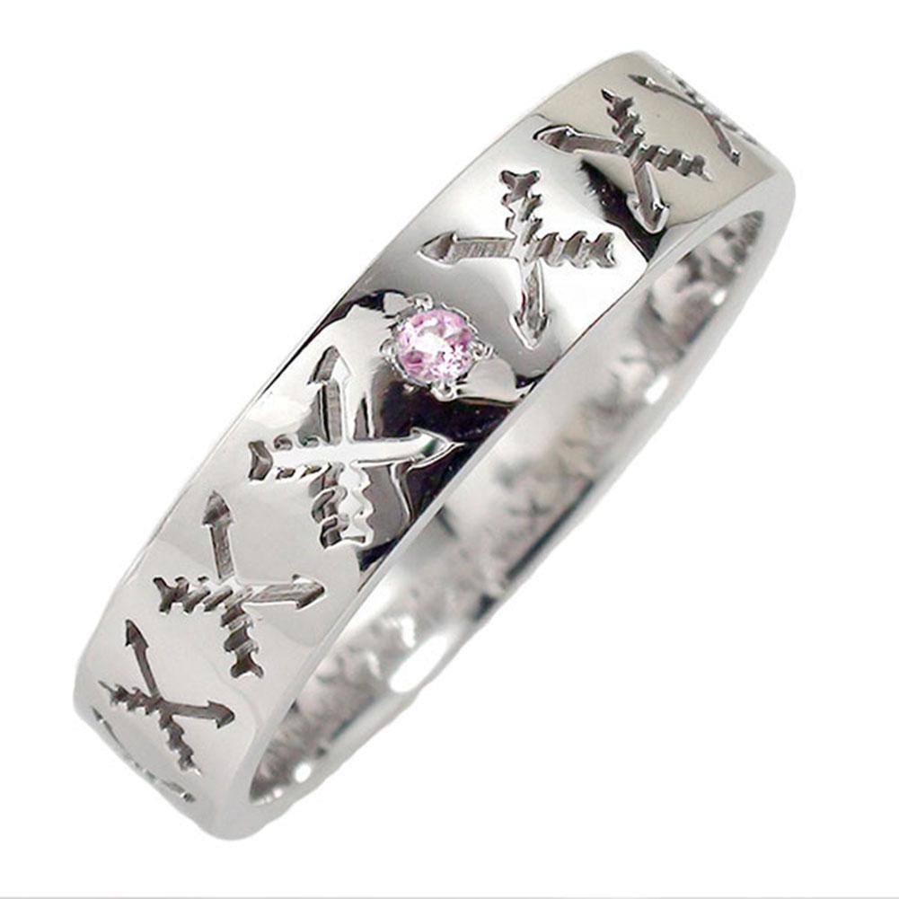 21日20時~28日1時まで ピンクサファイア リング プラチナ インディアンジュエリー クロッシングアロー 弓矢 結婚指輪 指輪 誕生石 マリッジリング  レディース 送料無料 買いまわり 買い回り
