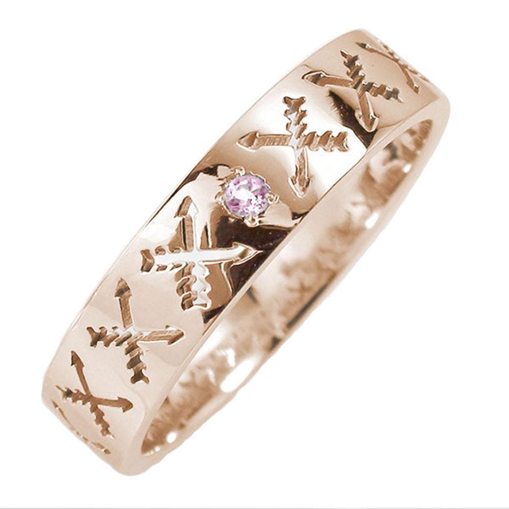 18金 ピンクサファイア 誕生石 マリッジリング インディアンジュエリー クロッシングアロー 弓矢 結婚指輪 指輪 レディース 送料無料