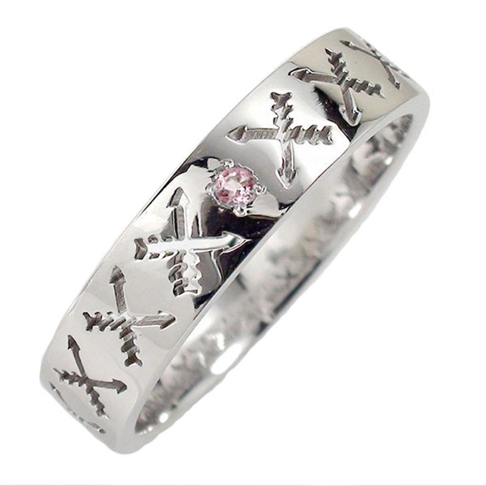 ピンクトルマリン リング プラチナ マリッジリング インディアンジュエリー クロッシングアロー 弓矢 結婚指輪 指輪 誕生石 レディース 送料無料