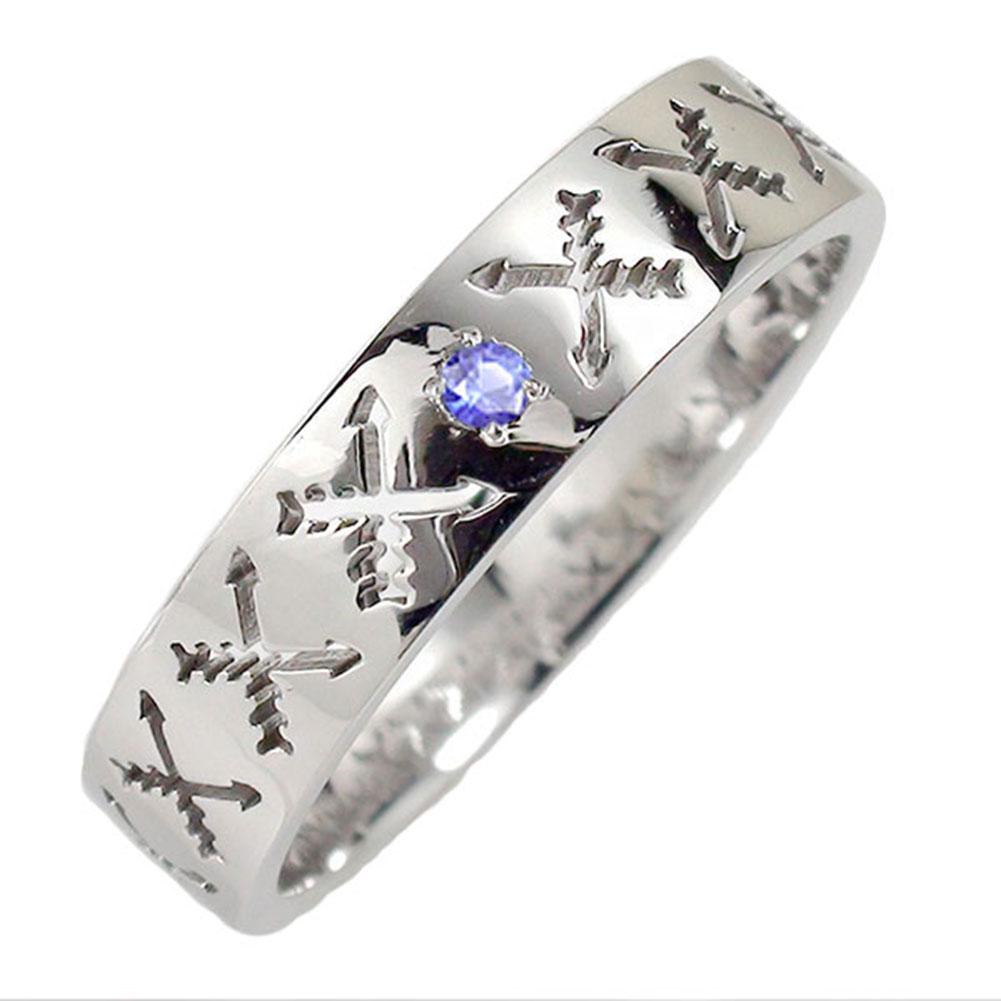 サファイア リング プラチナ 誕生石 インディアンジュエリー クロッシングアロー 弓矢 結婚指輪 指輪 マリッジリング ピンキー レディース 送料無料