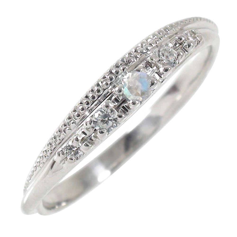プラチナリング ブルームーンストーン 指輪 ミル ダイヤモンド ピンキーリング【送料無料】