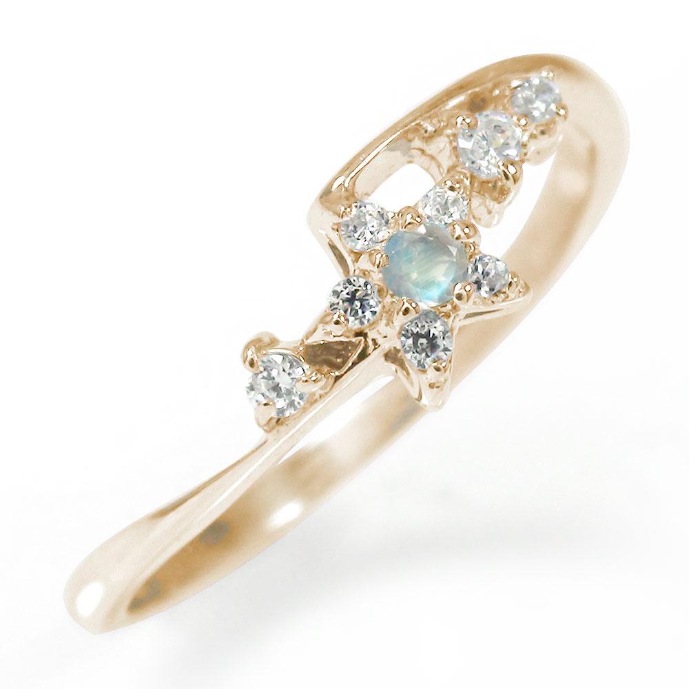 10/4 20時~ 流れ星 誕生石 ピンキーリング 10金 ブルームーンストーン ダイヤモンド 指輪 送料無料 買い回り 買いまわり