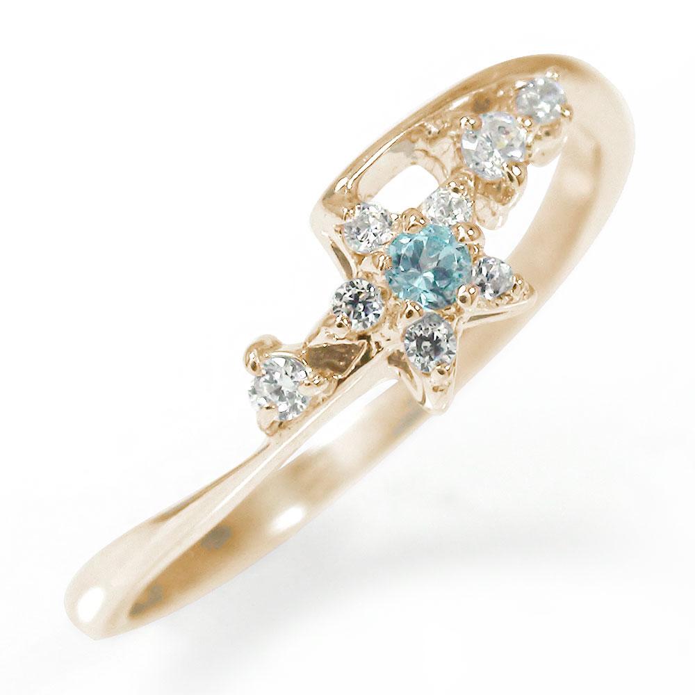 流れ星 10金 ブルートパーズ ダイヤモンド ピンキーリング 指輪 誕生石【送料無料】
