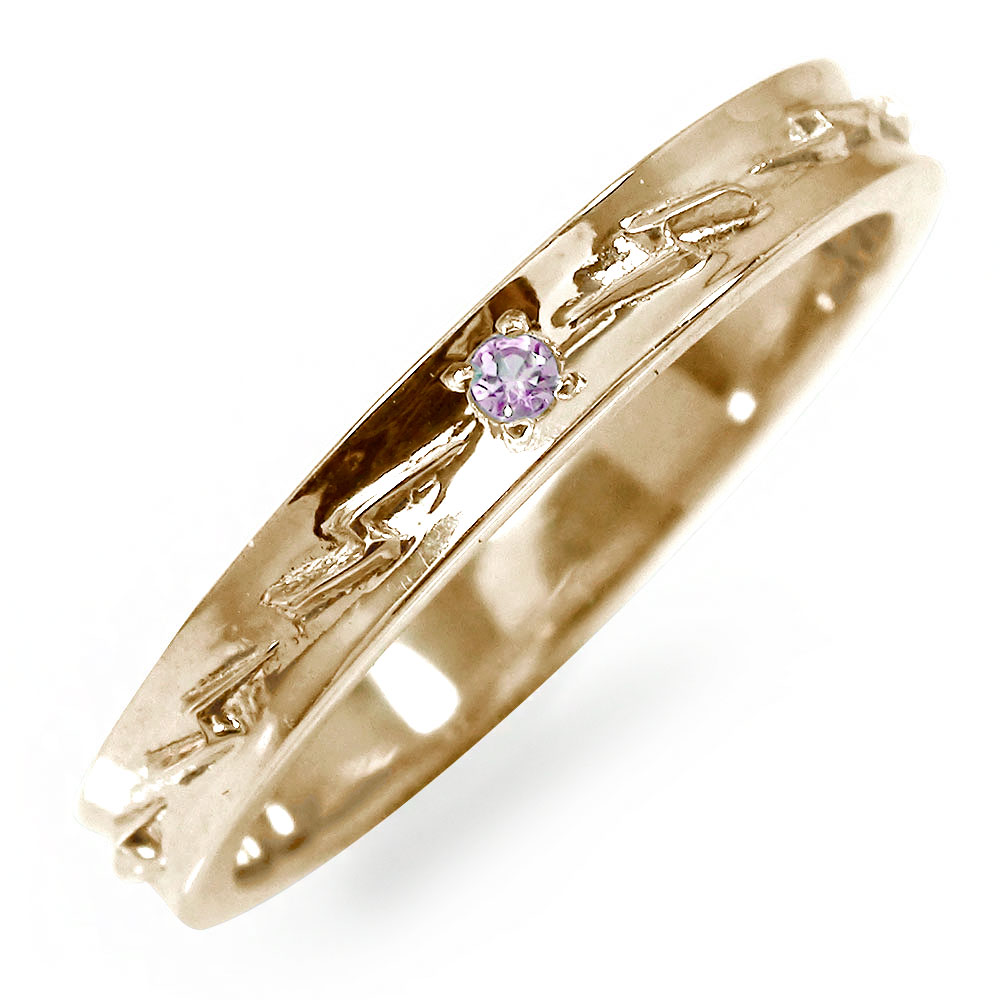 インディアンジュエリー ネイティブアメリカン 10金 ピンクサファイア ピンキーリング 稲妻 サンダ― 大人 エタニティ 指輪 誕生石