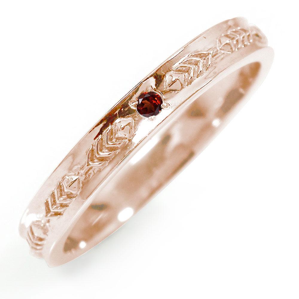ピンキーリング 18金 ガーネット 誕生石 インディアンジュエリー ネイティブアメリカン 羽根 フェザー 大人 エタニティ 指輪