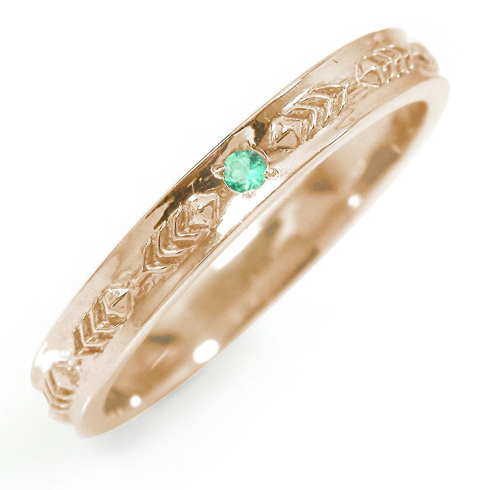インディアンジュエリー ネイティブアメリカン 10金 エメラルド ピンキーリング 誕生石 羽根 フェザー 大人 エタニティ 指輪