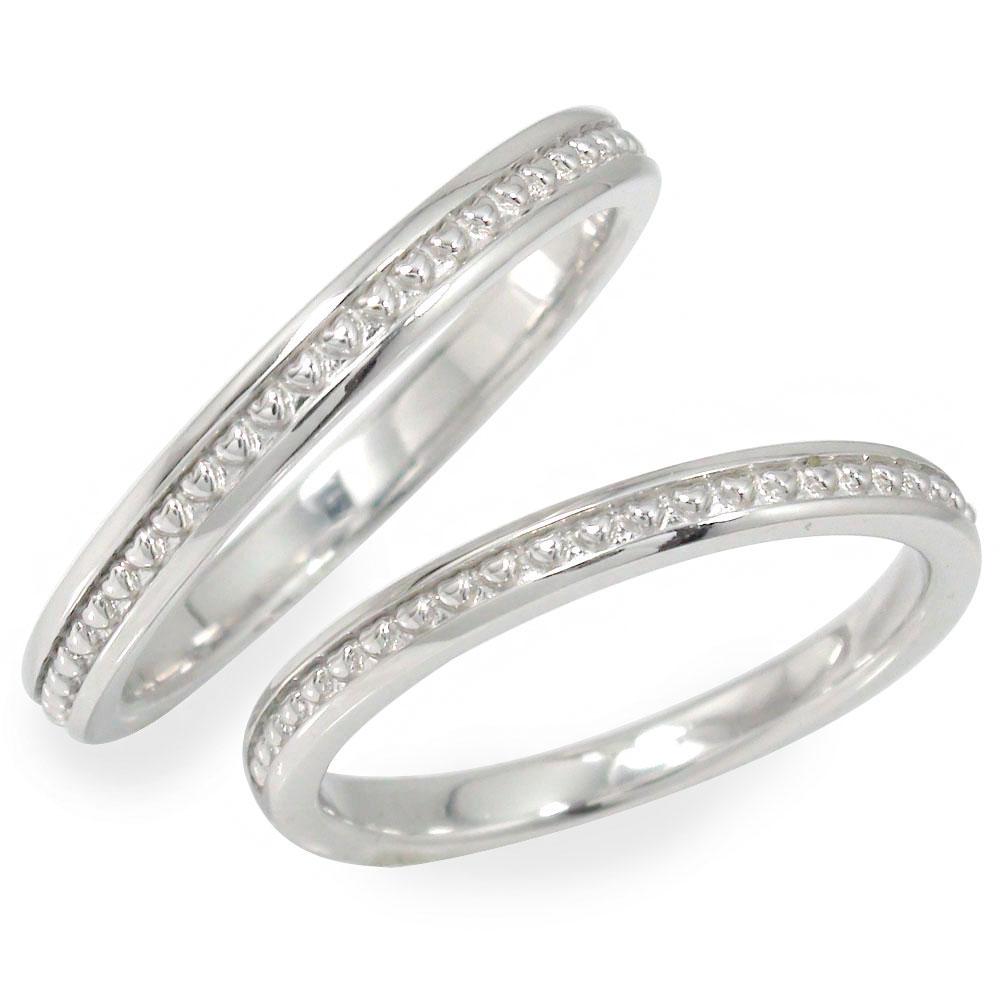 ペアリング 指輪 誕生石 2本セット ホワイトゴールド 結婚指輪 10金 レディース メンズ セット価格 ハート ミル 【送料無料】