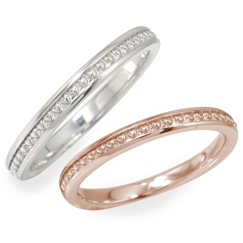 ペアリング マリッジリング 2本セット 18金 指輪 誕生石 結婚指輪 ホワイトゴールド ピンクゴールド レディース メンズ セット価格 ハート ミル 【送料無料】