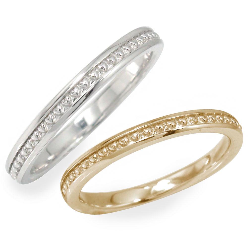 ペアリング マリッジリング 2本セット 指輪 誕生石 ホワイトゴールドイエローゴールド 10金 結婚指輪 レディース メンズ セット価格 ハート ミル 【送料無料】