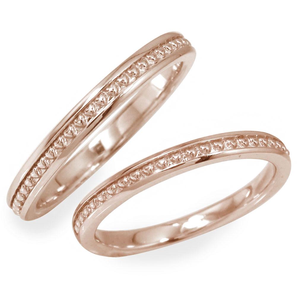 マリッジリング ペアリング 2本セット 18金 ピンクゴールド 指輪 誕生石 結婚指輪 レディース メンズ セット価格 ハート ミル 【送料無料】
