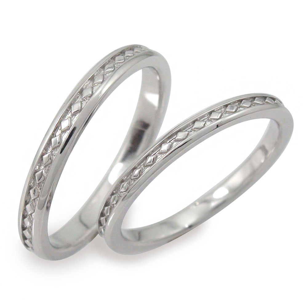 プラチナ ペアリング マリッジリング 指輪 誕生石 2本セット 結婚指輪 レディース メンズ セット価格 【ひし形モチーフ 送料無料】