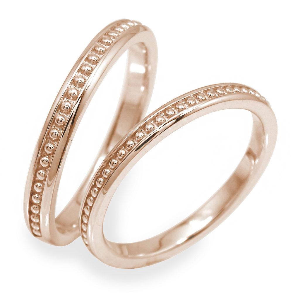 マリッジリング ペアリング 2本セット 18金 ピンクゴールド 指輪 誕生石 結婚指輪 レディース メンズ セット価格 ミル 【送料無料】