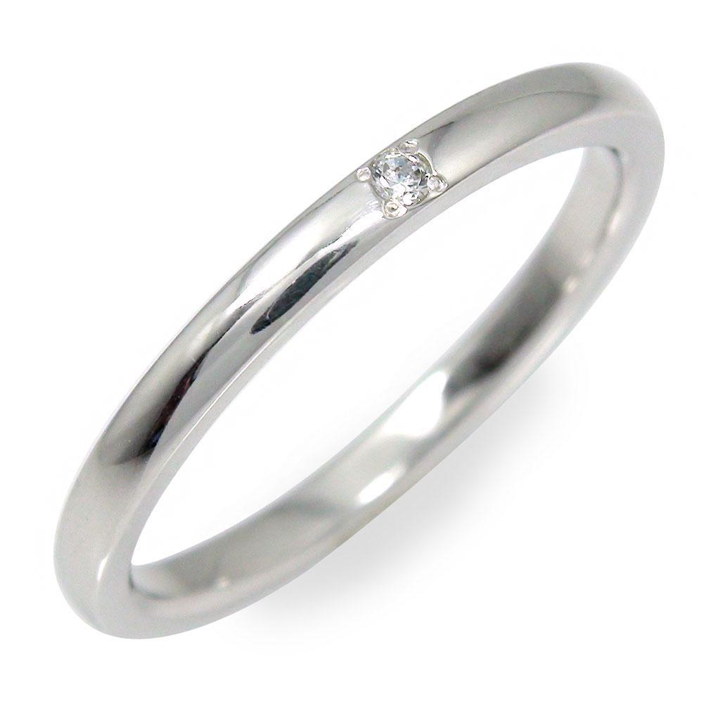 ダイヤモンド 甲丸リング指輪 18金 地金 ホワイトゴールド 送料無料