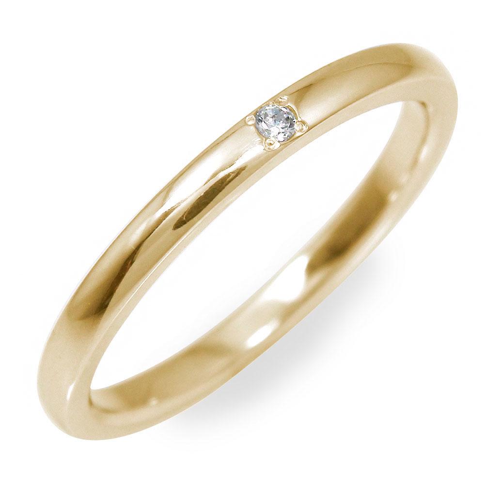 ダイヤモンド 甲丸リング指輪 地金 イエローゴールド 18金 送料無料