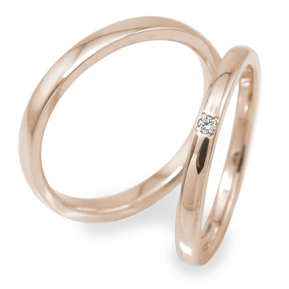 マリッジリング ダイヤモンド ペアリング 2本セット 指輪 ピンクゴールド 誕生石 10金 結婚指輪 レディース メンズ セット価格 【送料無料】