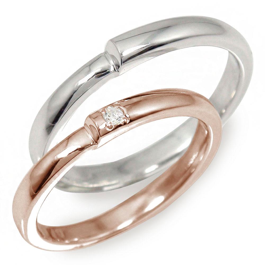 ダイヤモンド ペアリング マリッジリング 2本セット 指輪 誕生石 結婚指輪 ホワイトゴールド ピンクゴールド 10金 レディース メンズ セット価格 【送料無料】